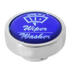 Chrome Wiper Washer Knob Blue