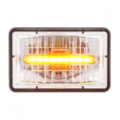 """6"""" x 4"""" High Beam LED Headlight with Amber Auxiliary"""
