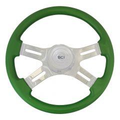 """Four-Spoke Green Painted Wood Steering Wheel 16"""""""