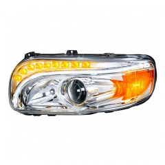 Peterbilt Chrome Headlight with LED Position Light and Turn Signal