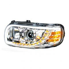 Peterbilt Chrome Quartz Headlight with LED Position Light and Turn Signal