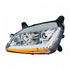 Peterbilt 579 587 Chrome Headlight with LED Position Light and Turn Signal