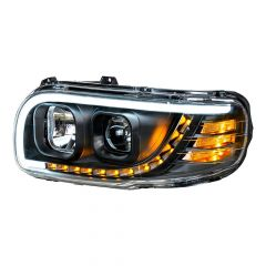 Peterbilt 388 389 Blackout Quartz Headlight with LED Position Light and Turn Signal