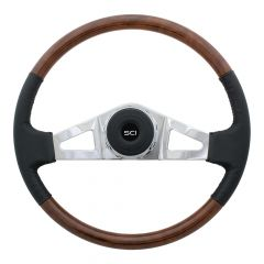 "18"" Royal Leather and Burl Wood Steering Wheel"