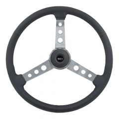 "20"" Old School Leather Steering Wheel"