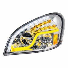 FL Cascadia Chrome Headlight with LED Turn Signal & Running Light