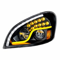 Freightliner Cascadia Blackout Headlight with LED Turn Signal & Running Light