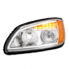 Kenworth T660 Chrome Headlight with LED Turn Signal