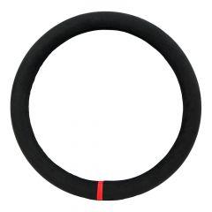 """18"""" Black & Red Suede Steering Wheel Cover"""