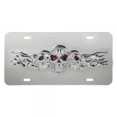 Stainless Steel License Plate with 3D Small Skulls