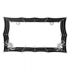 Chrome & Black Spider Web License Plate Frame
