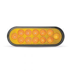 "6-1/2"" Oval Anodized Amber LED Turn Signal Light"