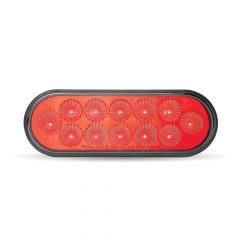 """6-1/2"""" Oval Anodized Red LED Stop/Tail/Turn Light"""