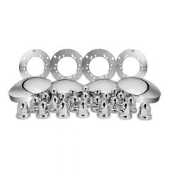 Chrome Trailer Axle Cover Kit, 33mm Push-On