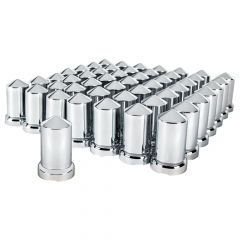 33mm Chrome Plastic Pointed Nut Cover Push On 60PK