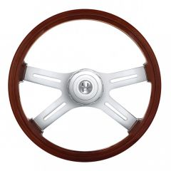 """18"""" Wood Steering Wheel with Cutout Spokes"""
