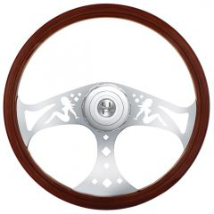 "18"" Chrome Sitting Lady Steering Wheel"