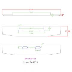 """Ford 16"""" Tapered Chrome Bumper with Tow Holes"""