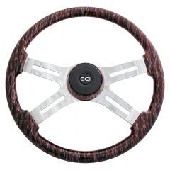 """18"""" Red Wildfire Wood Steering Wheel"""