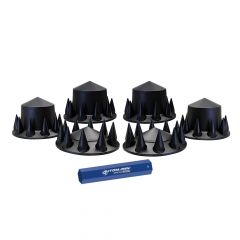 Front & Rear Black Axle Cover Kit, Cone, Threaded