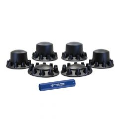 Front & Rear Black Axle Cover Kit, Dome, Threaded