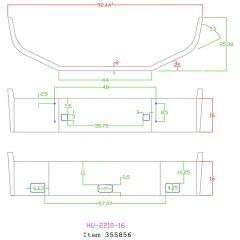 "Peterbilt 386 16"" Set Back Axle Chrome Bumper"