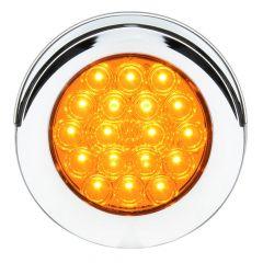 "4"" Round Amber 18 LED Light with Chrome Bezel"