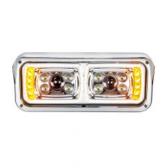 Chrome 10 LED Projection Headlight with Turn Signal and Position Bar