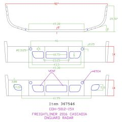 "Feightliner Cascadia 14"" Set Back Bumper with Radar Cutouts"