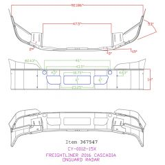 "Freightliner Cascadia 14"" Set Back Bumper with Radar Cutouts"