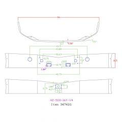 "Peterbilt 579 16"" Set Back Chrome Bumper with Radar Cutout"