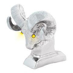 Chrome Ram's Head Hood Ornament with LED Eyes