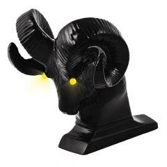 Black Ram's Head Hood Ornament with LED Eyes