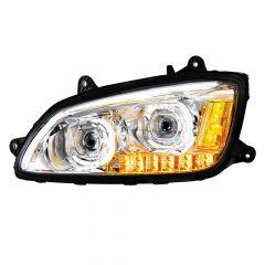 Kenworth T660 Chrome LED Headlight with LED Turn Signal Driver Side