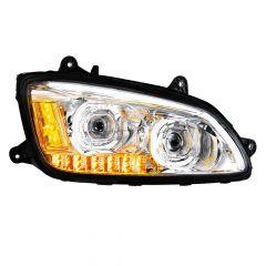 Kenworth T660 Chrome LED Headlight with LED Turn Signal Passenger Side