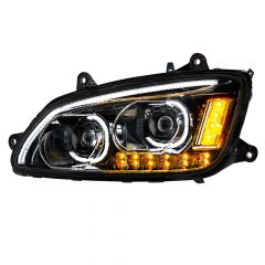 Kenworth T660 Blackout LED Headlight with LED Turn Signal Driver Side