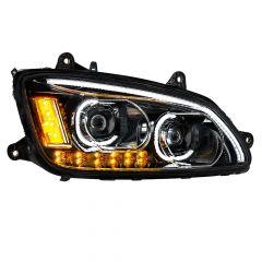 Kenworth T660 Blackout LED Headlight with LED Turn Signal Passenger Side