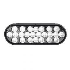 "6-1/2"" Oval 24 LED White Light with Smoke Lens"