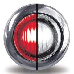 """3/4"""" Red/White Dual Revolution Mini Button LED Light Stop/Tail/Turn and Back-up"""