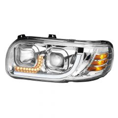 Peterbilt 388/389 Chrome Headlight with LED Position and Turn Signal