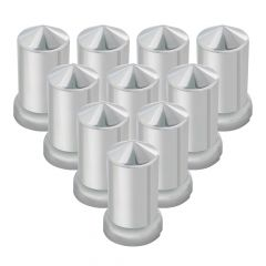 33mm Chrome Plastic Pointed Top Hat Nut Covers - Push On 10PK