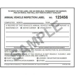 Vinyl Annual Vehicle Inspection Label