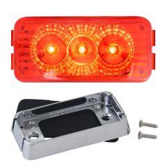 """2-1/2"""" Red 3 LED Spyder Light with Chrome Bracket"""