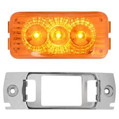 """2-1/2"""" Amber 3 LED Spyder Light with Chrome Rail Rim"""