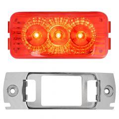 """2-1/2"""" Red 3 LED Spyder Light with Chrome Rail Rim"""