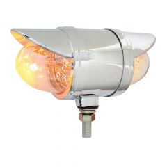 """3-1/2"""" Amber/Clear Double Face Spyder LED Light with Visor"""