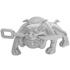 Chrome Bulldog with Winch Bar Hood Ornament