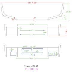 Kenworth T600 13-Inch Set Back Chrome Bumper