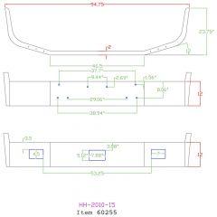 "Peterbilt 377 12"" Set Back Chrome Bumper"