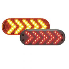 """6-1/2"""" 35 LED Oval Sequential Arrow Light"""